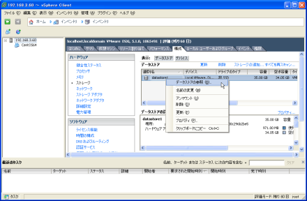 vSphere Client データストア