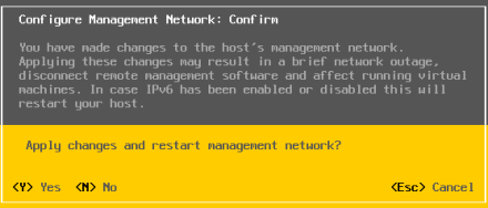 Configure Management Network Confirm